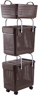 Panier à linge Combinaison XINYALAMP Panier de Rangement Sale Plastique vêtements Sales Panier de Rangement (Color : Brown)