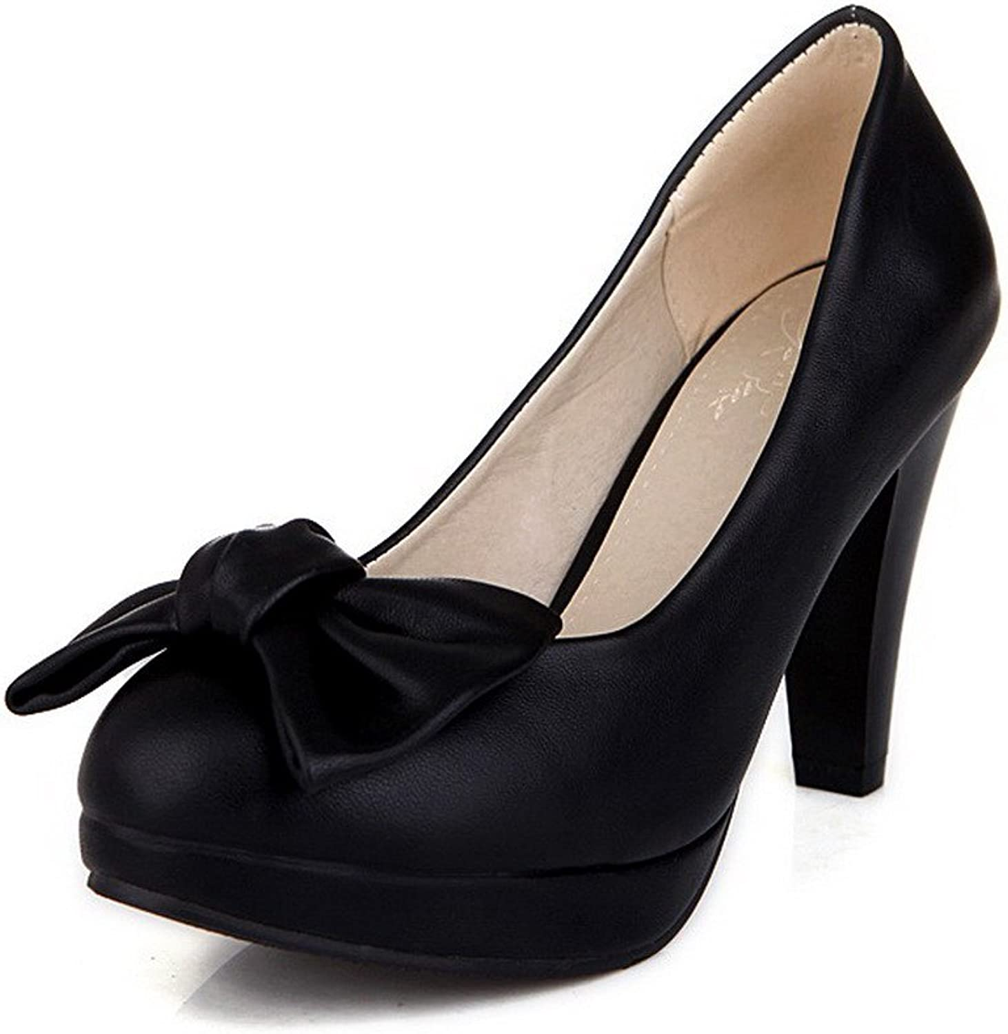 WeiPoot Women's Round Closed Toe Pull-on PU Solid High-Heels Pumps-shoes with Bows