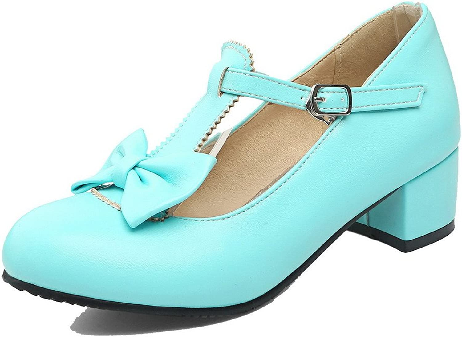AllhqFashion Women's Buckle Low-Heels Soft Material Solid Round-Toe Court shoes