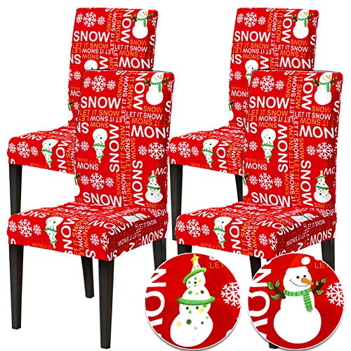 Camlinbo Christmas Chair Covers Set of 4 Christmas Decoration Snowmans Snowflake Stretch Chair Back Covers for Xmas Dinning Room Kitchen Christmas Decoration Restaurant Holiday Party Home Indoor Decor
