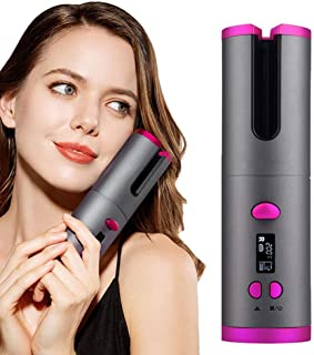 Wireless Curling Iron, Auto Hair Curler with LCD Temperature Display and Timer, USB Rechargeable Curling Tongs, Profession...
