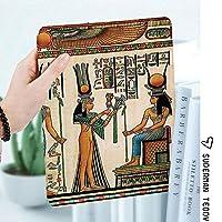 IPad 2/3/4 ケース 超薄型 超軽量 TPU ソフトスマートカバー オートスリープ機能 衝撃吸収 2つ折りスタンドApple iPad 4世代、新iPad 3(3rd Gen)&iPad 2Isisへの供物をしているNefertari女王を描いたエジプトのパピルスImage Print