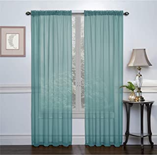 GoodGram 2 Pack: Basic Rod Pocket Sheer Voile Window Curtain Panels - Assorted Colors (Turquoise)