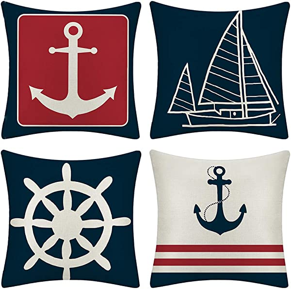 JOTOM Set Of 4 Decorative Cushion Covers Square Throw Pillow Covers Home Decor Design Set Covers Cushion Case For Sofa Bedroom Car 18x18 Inches Anchor