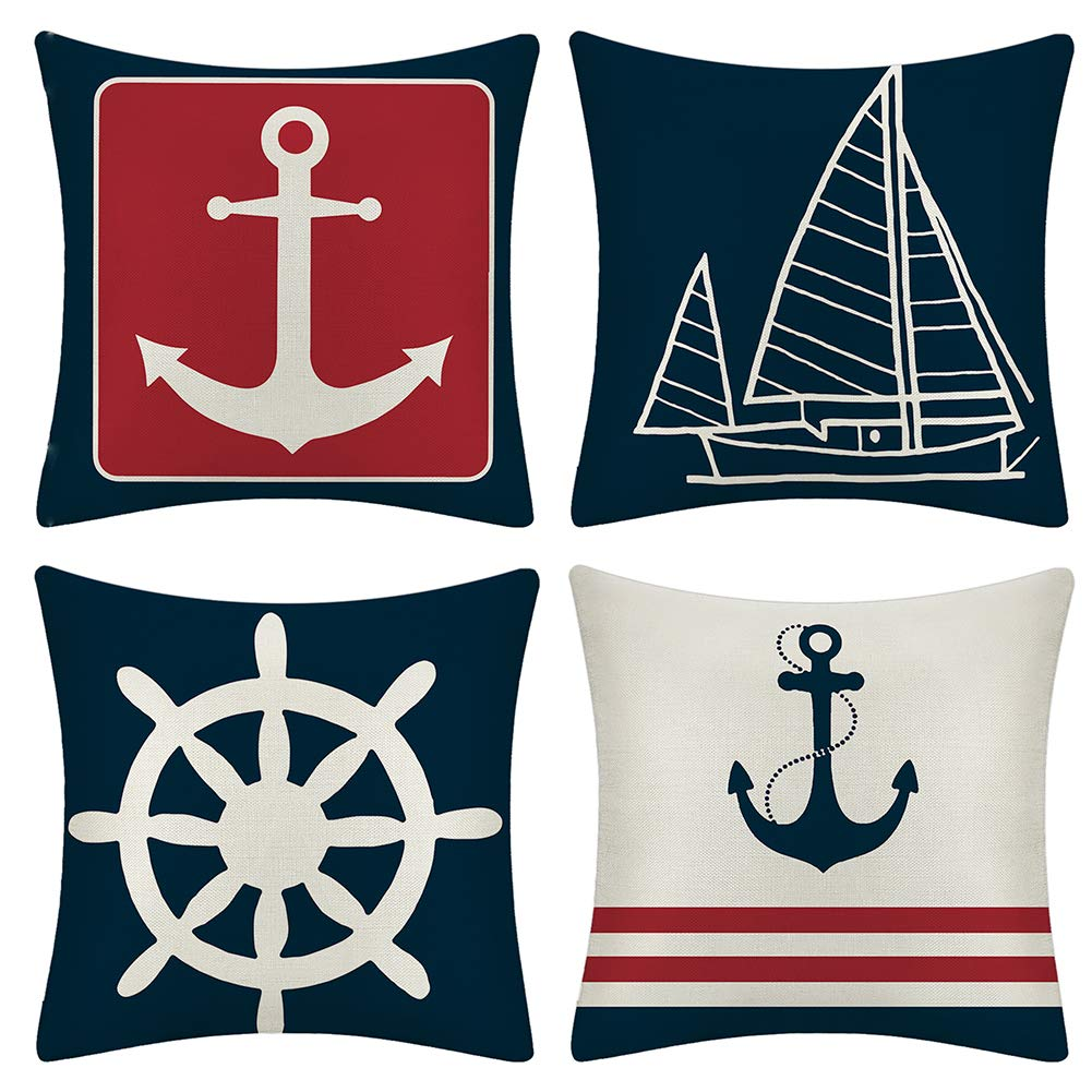 Jotom Set Of 4 Decorative Cushion Covers Square Nautical Sailing Throw Pillow Covers Home Decor Design Set Covers Cushion Case For Sofa Bedroom Car 18x18 Inches Anchor Home Kitchen