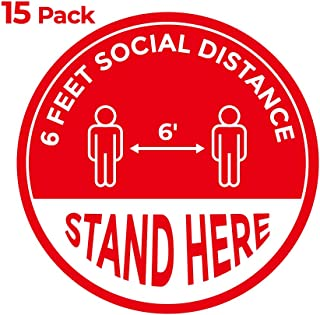 """15 Pack 8"""" Social Distancing Floor Sign Decals, Keep 6 Feet Distance Safety Decal, Please Wait Stand Here Stickers, Floor Reminder Markers, Dedicated Waterproof Round Label for Crowd Control Guidance"""