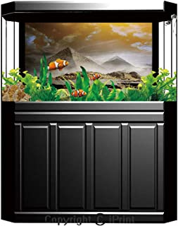 Aquarium Fish Tank Background,Egyptian Decor,Papyrus with Egyptian Ancient Historical Characters Elements in Temple Old Retro Culture Art,Multi,Decor Paper Green Water Grass Aquatic Style Like Real,W2