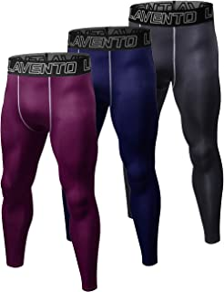 Lavento Men's 3 Pack Compression Running Tights Workout Base Layer Leggings