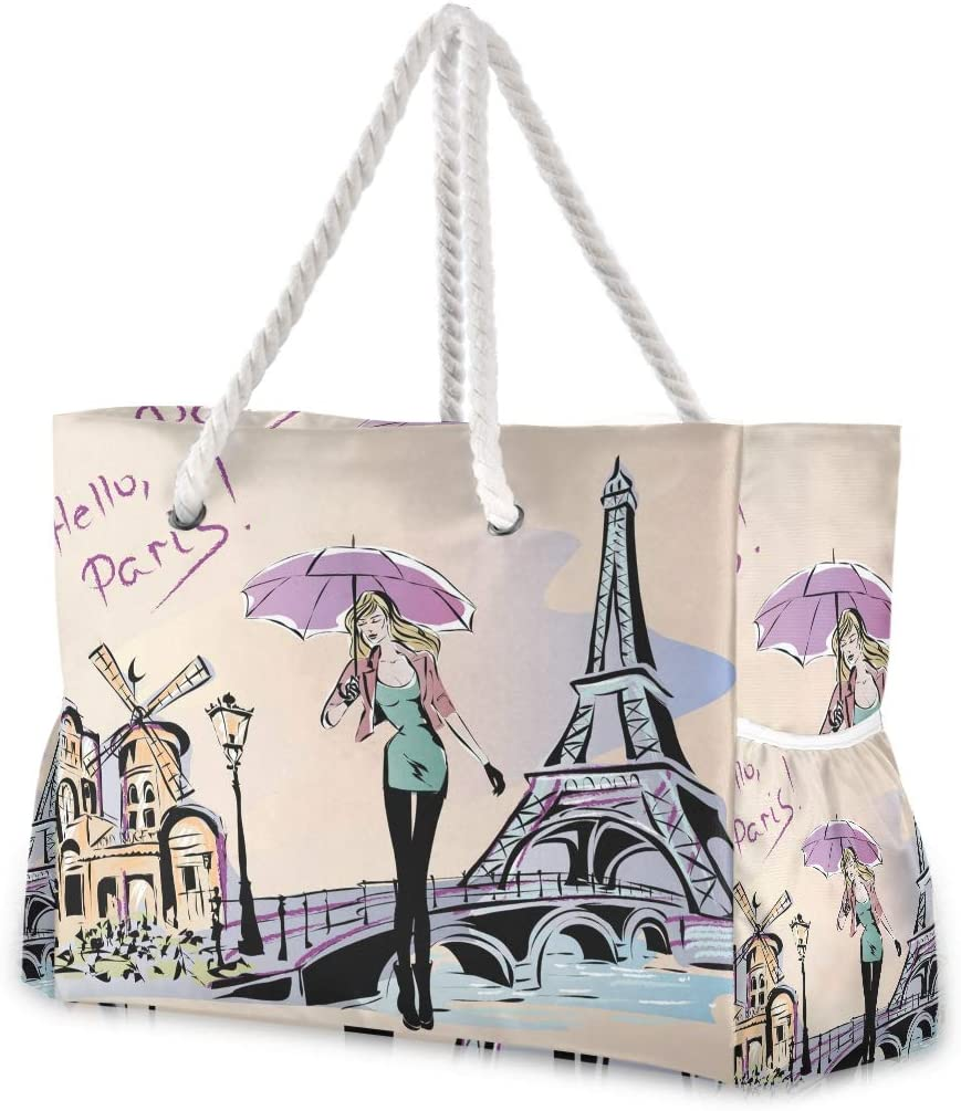 Beach Tote Bags Fashion Girl In Large trust Paris Travel Free shipping anywhere in the nation Gym Bag