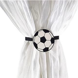 YYC Set of 2 Magnetic Curtain Buckle Tieback Car Bear Frog Design Kids Room (Football)