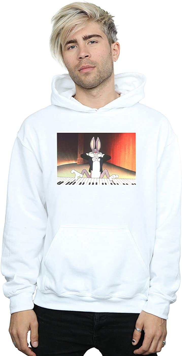 Looney Tunes Men's Bugs Bunny Playing Piano Hoodie