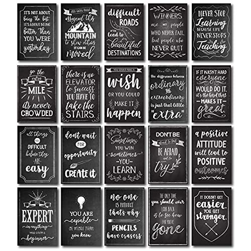20 Pack Motivational Posters for Classroom Decor, Positivity Quotes Wall Signs for Office, School, Teachers Supplies, Chalkboard Design (13 x 19 inches)