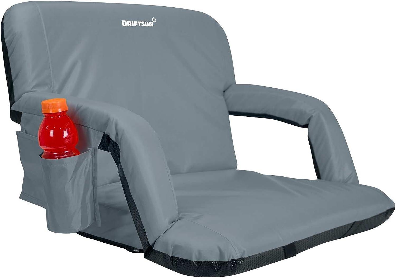 Driftsun Extra Wide Deluxe Stadium Seat Reclining Bleacher Chair Folding Back Sport Chair Reclines Perfect Bleachers, Lawns Backyards (Expanded Width)