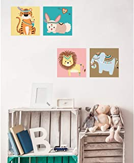 Oedim Pack de 4 Cuadros Infantiles Cartón Ecológico Animalitos | 40 x 40 cm | Decoración Habitación Diseño Elegante | Cantos Impresos |