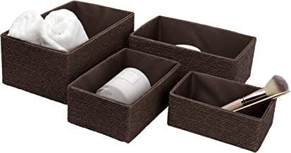 LA Jolie Muse Storage Baskets Set 4 - Stackable Woven Basket Paper Rope Bin, Storage Boxes for Makeup Closet Bathroom Bedr...