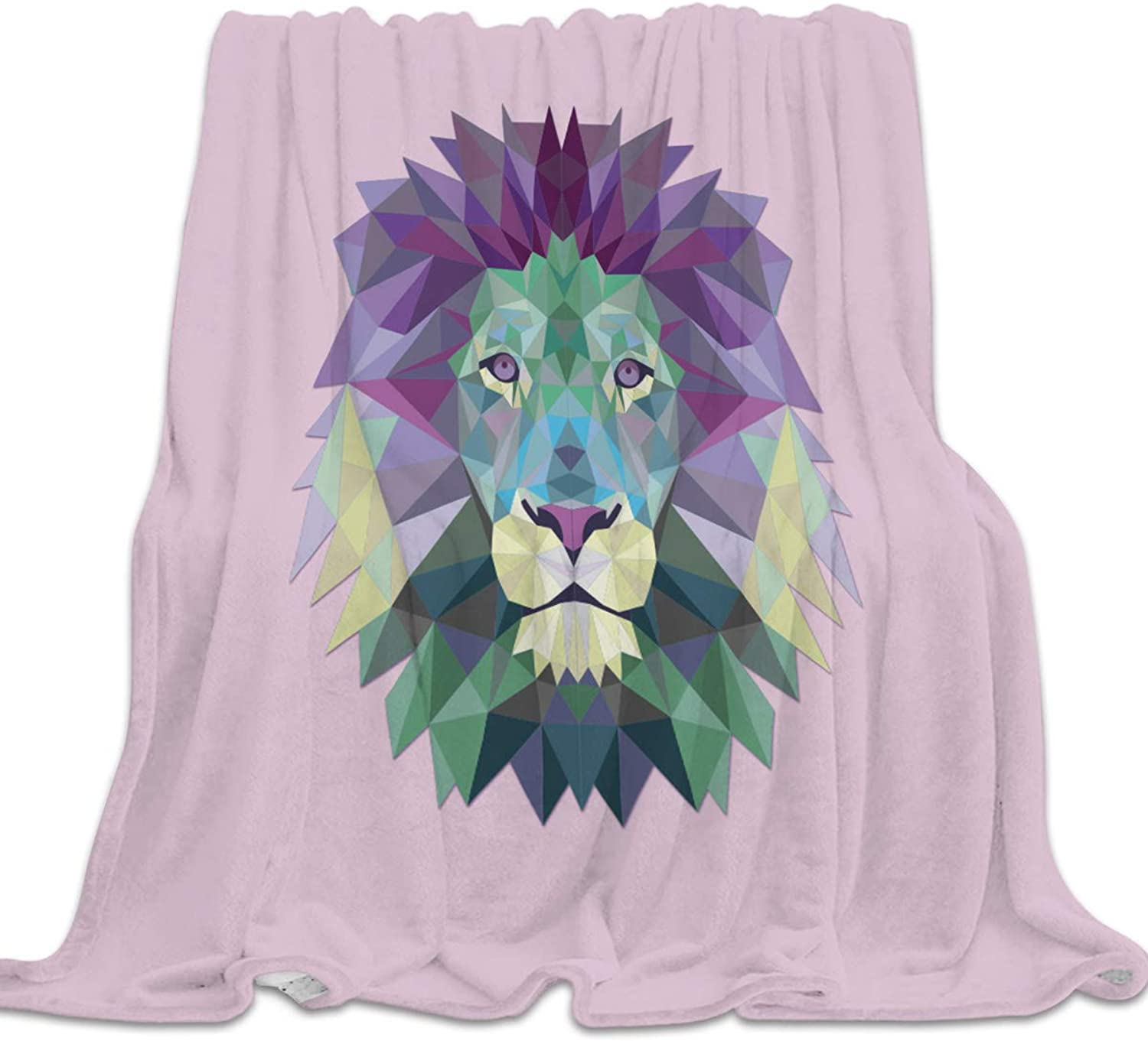 Clouday Flannel Fleece Bed Blanket Soft ThrowBlankets for Kids Girls Boys,colorful Lion Head Lattice Pattern,Lightweight Blankets for Bedroom Living Room Sofa Couch Home Decor,49x59Inch
