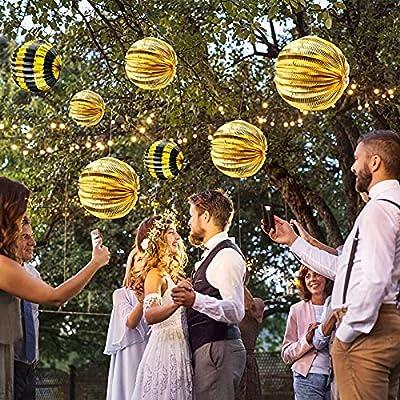Amazon - 10% Off on Gold Black Paper Lanterns Decorative,Lantern Lamps with Led Lights