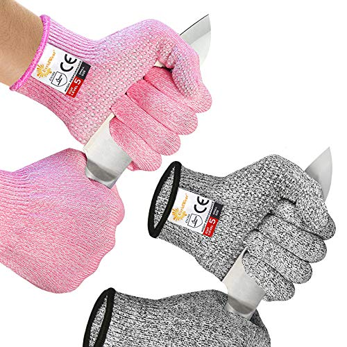 EvridWear 2 Colors 2 Pairs Level 5 Cut Resistant Gloves with Strong Silicone Grip Dots Kitchen Meat cutting Fish Fillet Shucking and Mandolin Slicing Free E-book (L, Pink+Gray)