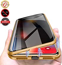 Privacy Magnetic Cases for iPhone XR, Anti Peeping Clear Double Sided Tempered Glass [Magnet Absorption Metal Bumper Frame] Thin 360 Full Protective Phone Case for iPhone XR 6.1'' Gold