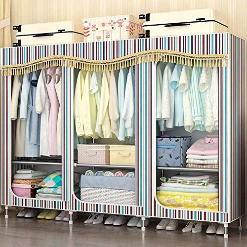 CXVBVNGHDF Portable Clothes Closet Wardrobe Canvas Wardrobes with Hanging Rods and Clothes Shelves, Easy to Assemble for Bedroom, Living Room, Study,D