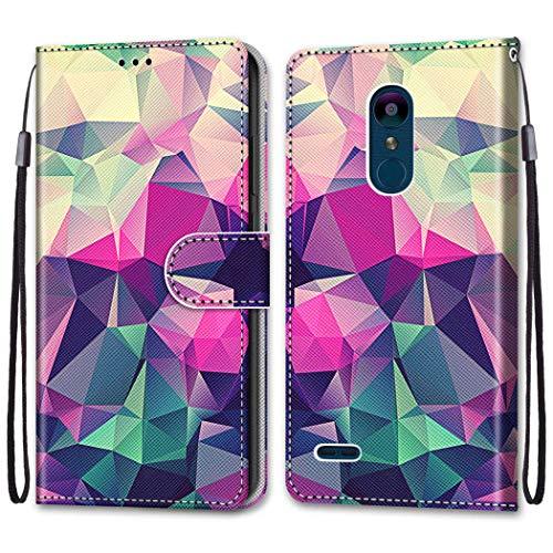 i-Hülle Handy Schutzhülle Kompatibel mit LG K8 2018 Handyhülle Phone Hülles PU Lederhülle Brieftasche BookStyle Etui Handytasche Wallet Kartenfach Flip Tasche für LG K8 2018 LG K9,Farbiger Diamant