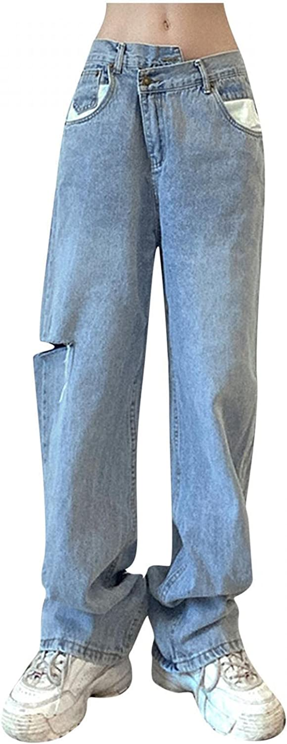 Straight Jeans for Women Y2K Fashion High Waisted Pocket Stretch Distressed Denim Pants Vintage Baggy Wide Leg Jeans