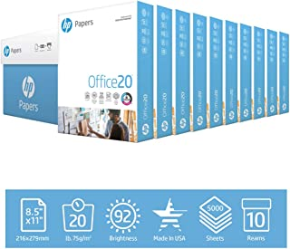 HP Printer Paper 8.5x11 Office 20 lb 10 Ream Case 5000 Sheets 92 Bright Made in USA FSC Certified Copy Paper HP Compatible 112101C