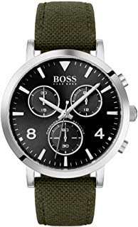 BOSS Men's Spirit Quartz Stainless Steel and Fabric Strap Casual Watch, Color: Green (Model: 1513692)