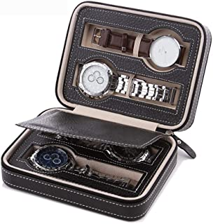 CraftEarth Portable Travel Watch Case | Leather | Zippered | 4-Slot Watch Storage Box | Display Organizer (Black)