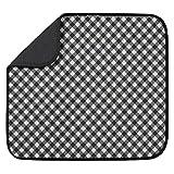 S&T Microfiber Dish Drying Mat, 16' x 18', Black Gingham