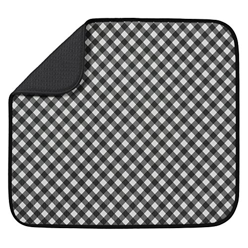 "S&T Microfiber Dish Drying Mat, 16"" x 18"", Black Gingham"