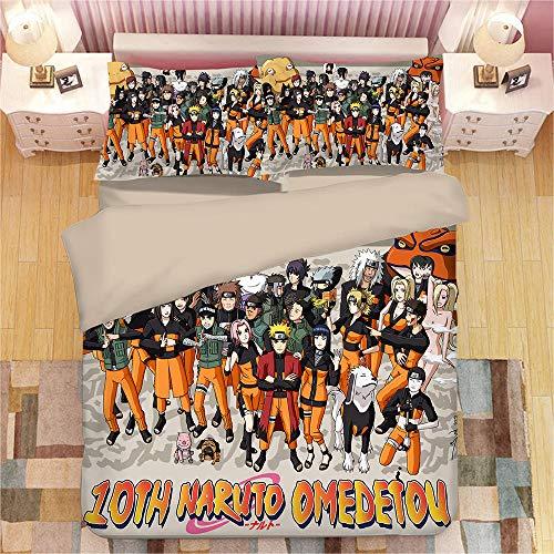 FAIEK Juego de Ropa de Cama Anime para niños,Naruto Clon,Funda nórdica Funda de Almohada, Japón Anime Naruto 180X200CM