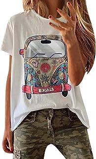OULSEN Plus Size Women T-shirt Short Sleeve Crew Neck Floral Car Pattern Printed Loose Top Fashion Casual Long T-shirt White Pink