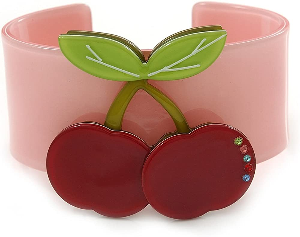 Avalaya Pink, Light Green, Red Crystal Cherry Acrylic Cuff Bracelet - 19cm L