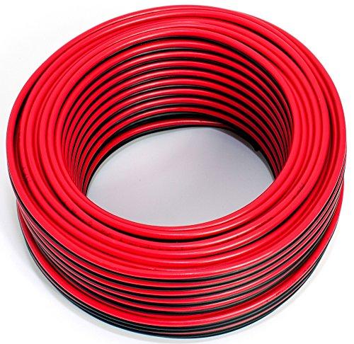Cavo per altoparlante, 2 x 1,50 mm2, 25 m, colore: rosso/nero