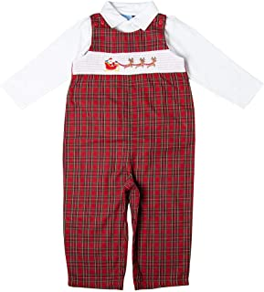 Good Lad Newborn/Infant Boys Red and Green Plaid Christmas Motiff Smocked Overall Set