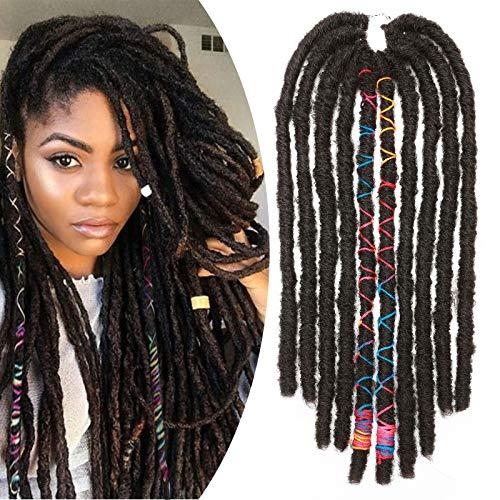 """18"""" Extensions de Cheveux de Tressage à La Main Postiches Crochet Synthétique Dreadlock Extension Pour Les Femmes, Brun Moyen"""