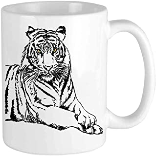 Printed ceramic cup - Sketch of A Posing Tiger Sharp Eyes Largest Cat Species Dark Vertical Stripes - Coffee cup,simple and beautiful,unique gift for family,friends,colleagues or neighbors - 11oz