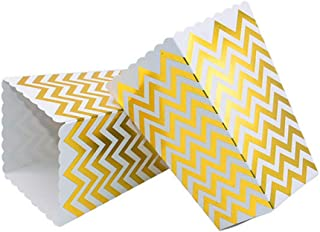 VAINECHAY 12PCS Cajas de palomitas Carton Maiz Caja Papel Pequena Dulces Papas Fritas Fiesta Cumpleanos para Ninos Caja Regalo Comida Bocadillos Titulares Contenedor Onda Dorada Oro Puntos