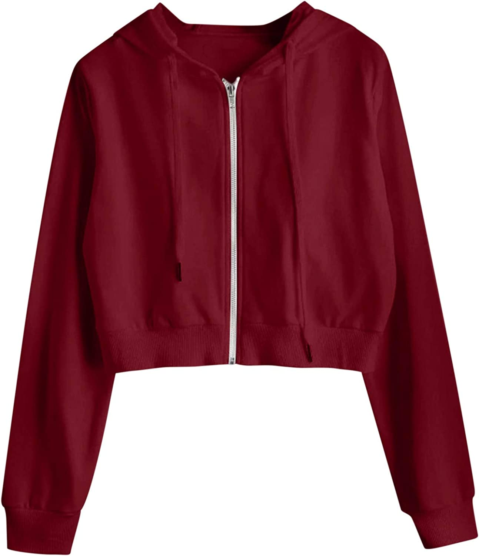 Women Hoodies Basic Lightweight Pullover Hoodies Teen Girls Crop Tops Long Sleeve Zip-Up Butterfly Sweatshirt with Pocket