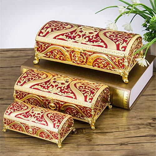Joyero rectangular europeo, caja de joyería de princesa, caja de almacenamiento para regalo de cumpleaños, color rojo