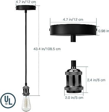 Industrial Mini Pendant Light JACKYLED UL Vintage Socket E26 E27 Lampholder Black Woven Fabric Pendant Light Cord Adjustable Hanging Light Kit (Pearl Black)