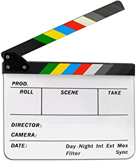 Jmkcoz Acrylic Film Clapboard Dry Erase Director Film Movie Clapper Board Cut Action Scene Clapper Board Slate with Colorful Sticks