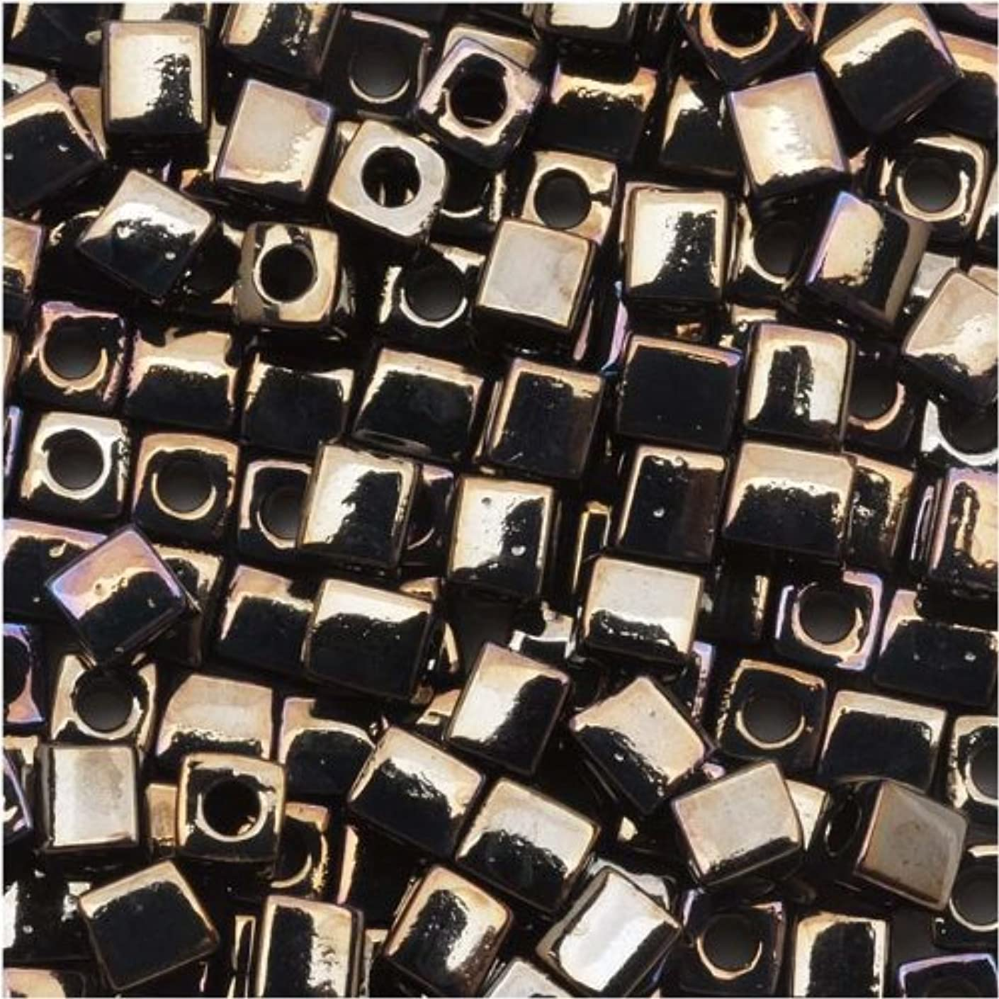 Miyuki 458 10gm Glass Cube Beads, 4mm, Metallic Gunmetal Iris