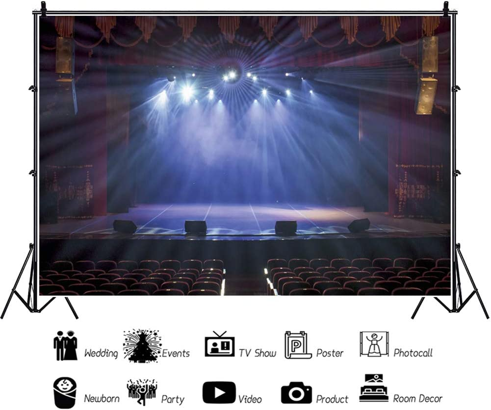 Leowefowa Dreamy Theater Interior Performance Stage Backdrop 12x8ft Vinyl Dim Auditorium Shiny Spotlights Light Beams Photography Background Actor Photo Shoot School Event Activities Photo Booth