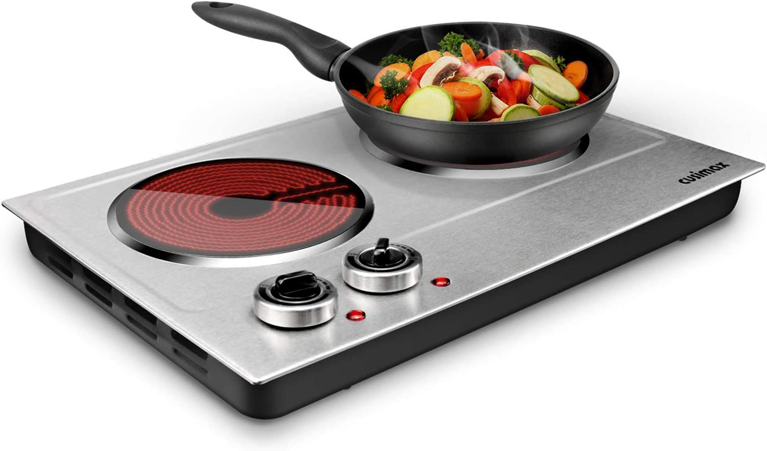 CUSIMAX 1800W Ceramic Electric Hot Plate for Cooking, Dual Control Infrared Cooktop, Portable Countertop Burner, Glass Plate Electric Cooktop, Silver, Stainless Steel-Upgraded Version
