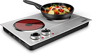 Cusimax 1800W Ceramic Electric Hot Plate for Cooking, Dual Control Infrared Cooktop, Portable Countertop Burner, Glass Plate Electric Cooktop, Silver, Stainless Steel