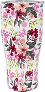 G-LEAF 20oz Floral Stainless Steel Tumbler & Double Wall Stainless Steel Vacuum Insulated Tumbler for Hot and Cold Beverages - Brilliant Blooming Flower