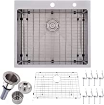 VALISY 25 inch Topmount 16 Gauge Stainless Steel Extra-thick Drop In Brushed Nickel Single Bowl Kitchen Sink, Dish Grid an...