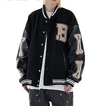 Vintage Streetwear Baseball Jacket, Unisex College Jacket Varsity Jacket, Oversized Patchwork Sports Coat, Pu Leather Stit...
